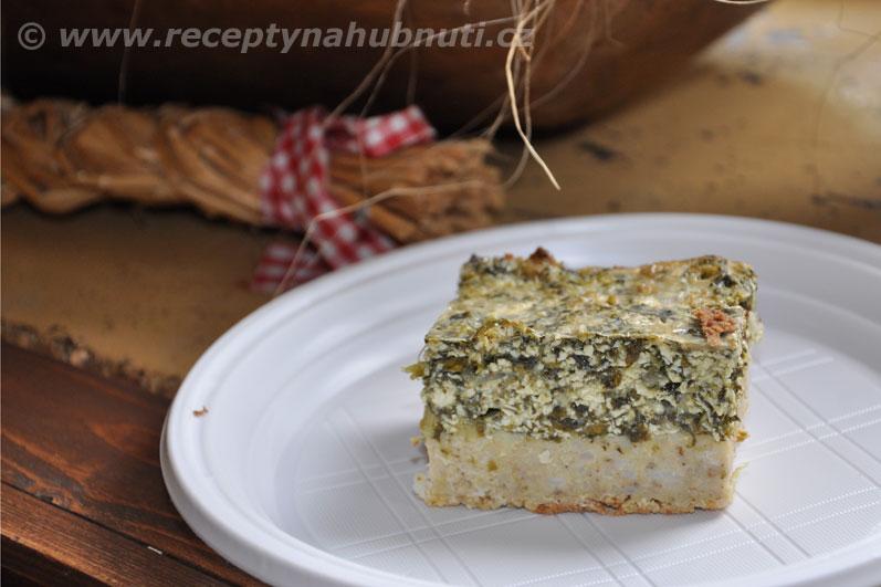 Jáhlový koláč s tofu a špenátem